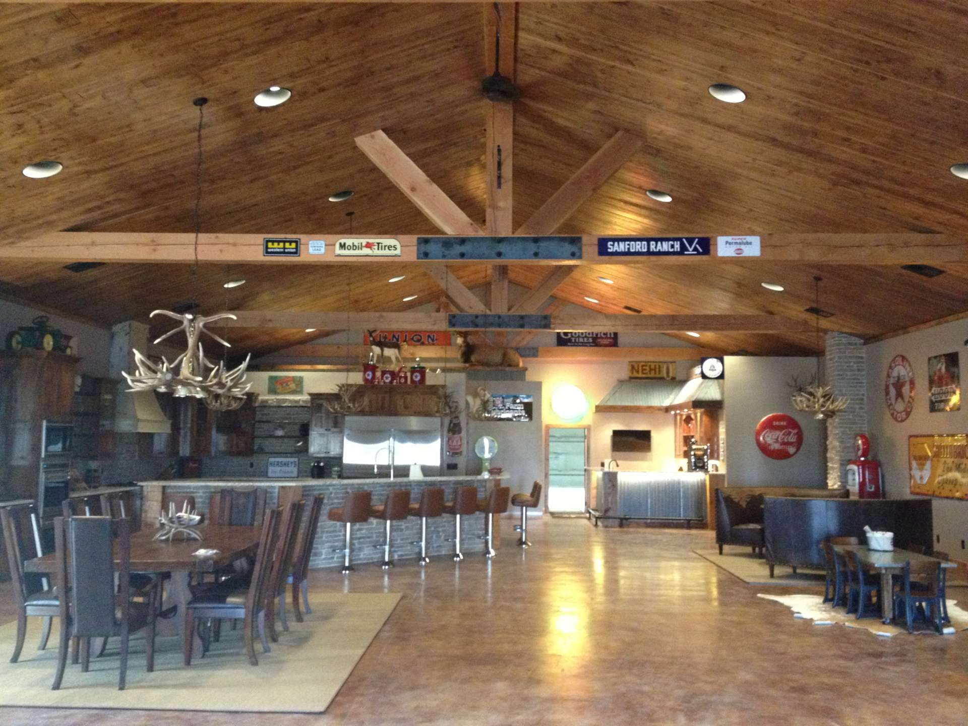 Custom Rustic Interior with bar, dining area and lounge